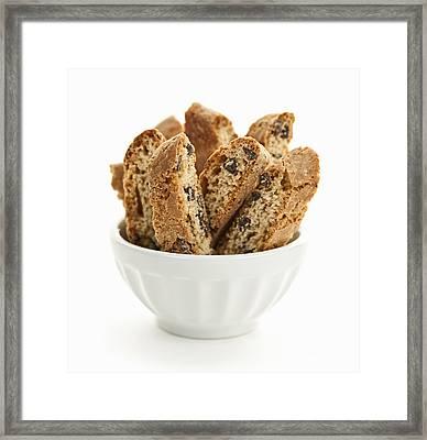Biscotti Cookies In Bowl Framed Print by Elena Elisseeva