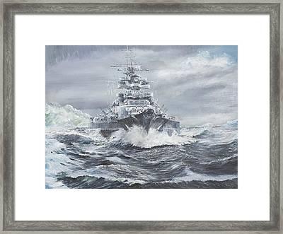 Bismarck Off Greenland Coast  Framed Print by Vincent Alexander Booth