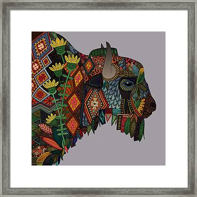 Bison Heather Framed Print by Sharon Turner