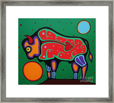 Bison Framed Print by Jim Oskineegish