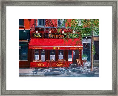 Bistro Citron New York City Framed Print by Anthony Butera