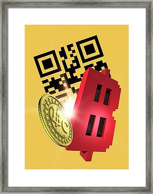 Bitcoin And Qr Code Framed Print by Victor Habbick Visions