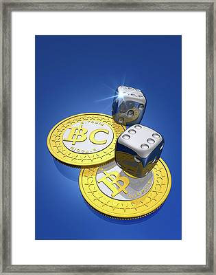 Bitcoins And Dice Framed Print by Victor Habbick Visions