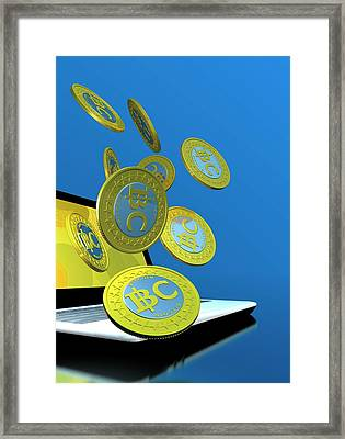 Bitcoins And Laptop Framed Print by Victor Habbick Visions