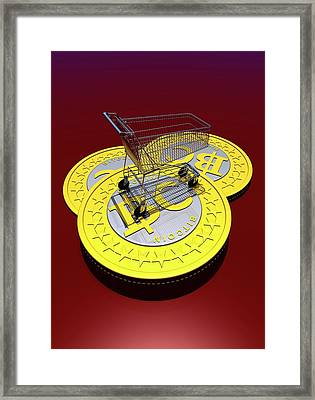 Bitcoins And Shopping Trolley Framed Print by Victor Habbick Visions