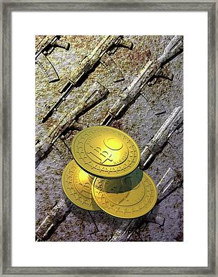 Bitcoins And Weapons Framed Print by Victor Habbick Visions
