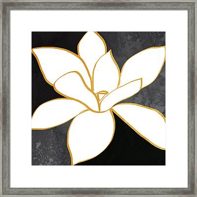 Black And Gold Magnolia- Floral Art Framed Print by Linda Woods
