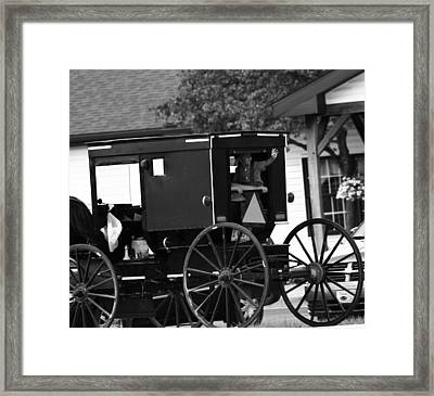 Black And White Amish Buggy Framed Print by Dan Sproul