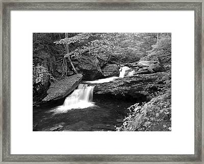 Black And White Cascade Framed Print by Frozen in Time Fine Art Photography