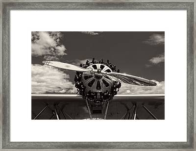 Black And White Close-up Of Airplane Engine Framed Print by Keith Webber Jr