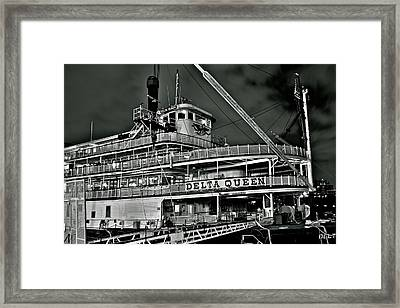Black And White Delta Queen Framed Print by Frozen in Time Fine Art Photography