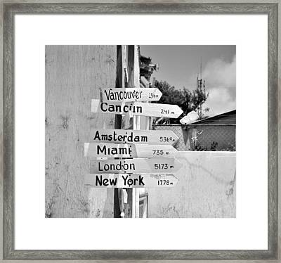 Black And White Directional Sign Framed Print by Kristina Deane