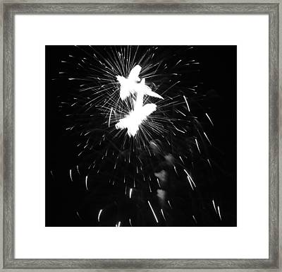 Black And White Fireworks Explosion Framed Print by Dan Sproul