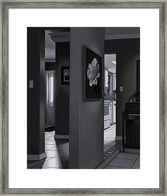 Black And White Foyer Framed Print by Tony Chimento