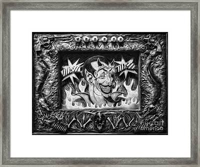 Black And White Hellivision Framed Print by Gregory Dyer