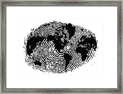 black and white ink print poster One of a Kind Global Fingerprint Framed Print by Sassan Filsoof