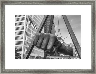 Black And White Joe Louis Fist And Flag Framed Print by John McGraw