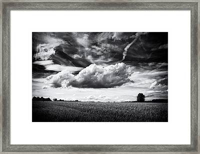 Black And White Landscape With Dramatic Sky And Clouds Framed Print by Matthias Hauser