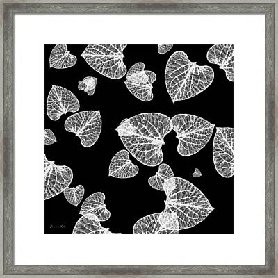 Black And White Leaf Abstract Framed Print by Christina Rollo