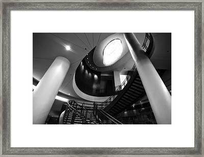 Black And White Lobby Staircase Framed Print by Dan Sproul