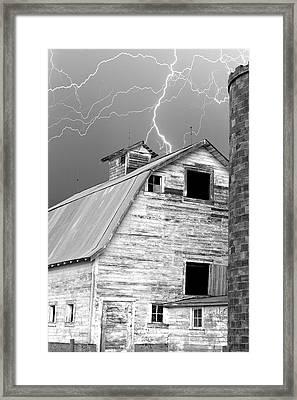 Black And White Old Barn Lightning Strikes Framed Print by James BO  Insogna