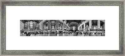 Black And White Pano Of Grand Central Station - Nyc Framed Print by David Smith