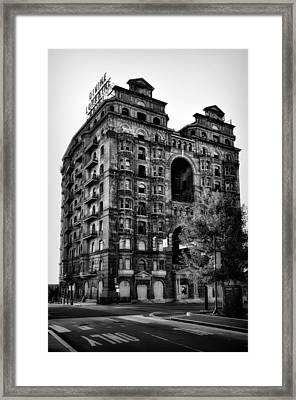 Black And White Philadelphia - The Divine Lorraine Hotel Framed Print by Bill Cannon