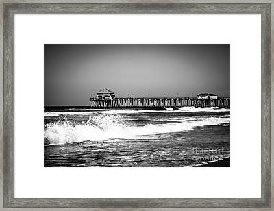 Black And White Picture Of Huntington Beach Pier Framed Print by Paul Velgos