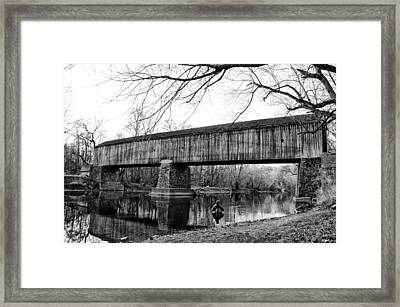 Black And White Schofield Ford Covered Bridge Framed Print by Bill Cannon