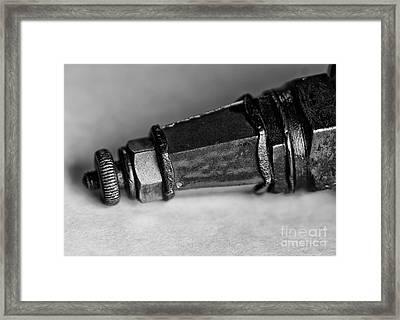 Black And White Spark Plug Framed Print by Wilma  Birdwell