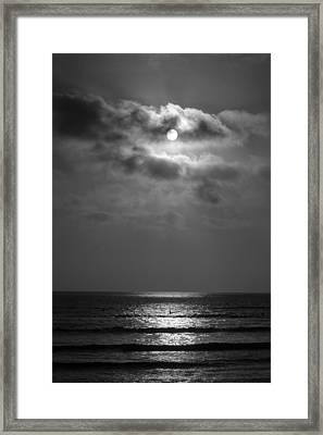 Black And White Sunset At San Onofre Framed Print by Richard Cheski
