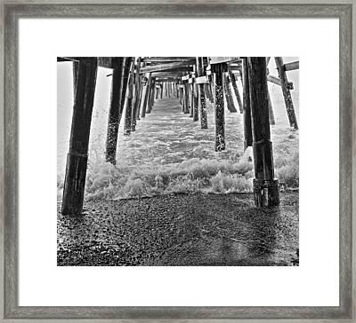Black And White Under The Pier Framed Print by Richard Cheski