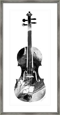 Black And White Violin Art By Sharon Cummings Framed Print by Sharon Cummings