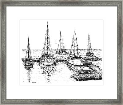Black And White With Pen And Ink Drawing Of The Berth Framed Print by Mario Perez