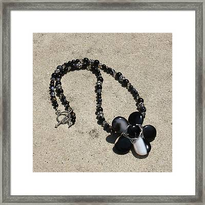 Black Banded Onyx Wire Wrapped Flower Pendant Necklace 3634 Framed Print by Teresa Mucha