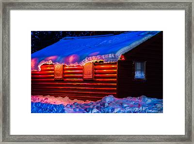 Black Bear Cabin Framed Print by Optical Playground By MP Ray