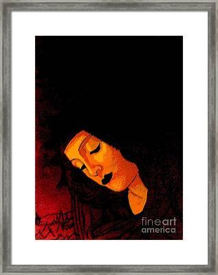 Black Botticelli Madonna Framed Print by Genevieve Esson