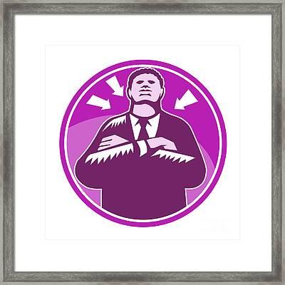 Black Businessman Bouncer Arms Folded Woodcut Framed Print by Aloysius Patrimonio