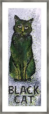 Black Cat Green Framed Print by Michelle Boudreaux
