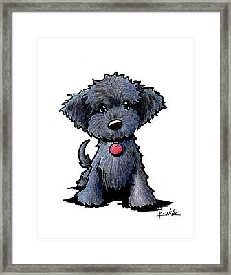 Black Doodle Puppy Framed Print by Kim Niles