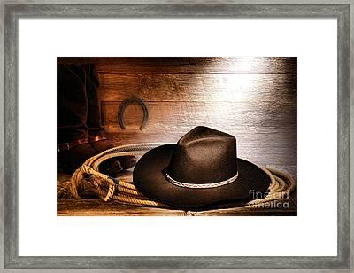 Black Felt Cowboy Hat Framed Print by Olivier Le Queinec