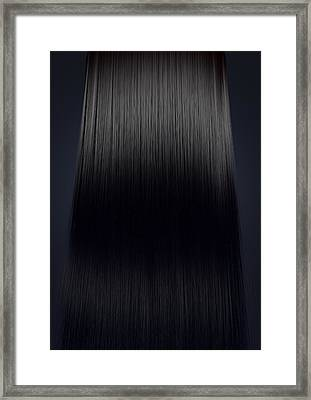 Black Hair Perfect Straight Framed Print by Allan Swart