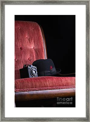 Black Hat Vintage Camera And Antique Red Chair Framed Print by Edward Fielding