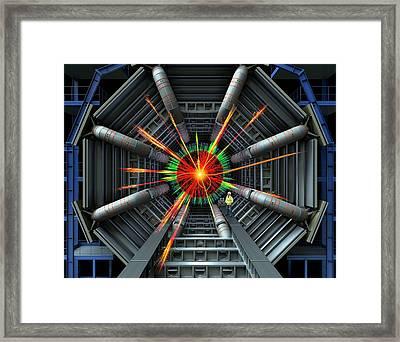 Black Hole Simulation On Lhc Framed Print by David Parker