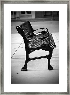 Black Iron Bench Framed Print by Holly Blunkall