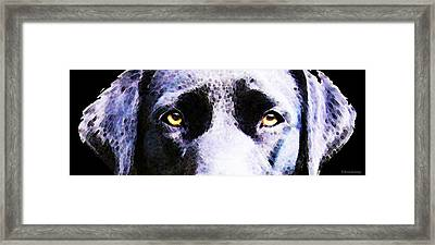 Black Labrador Retriever Dog Art - Lab Eyes Framed Print by Sharon Cummings