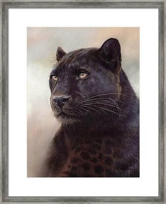 Black Leopard Painting Framed Print by Rachel Stribbling