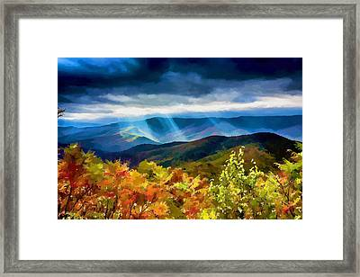 Black Mountains Overlook On The Blue Ridge Parkway Framed Print by John Haldane