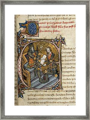 Black Prince Receives Aquitaine Framed Print by British Library