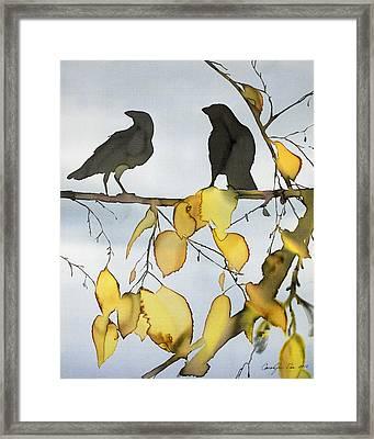 Black Ravens In Birch Framed Print by Carolyn Doe